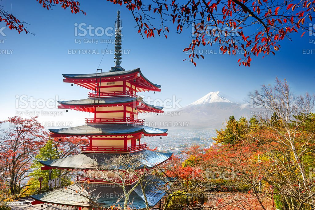 Pagoda and Mt. Fuji stock photo