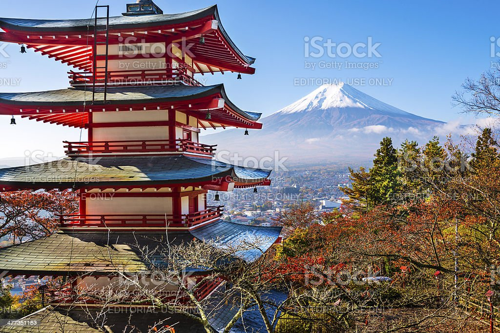 Pagoda and Mt Fuji stock photo