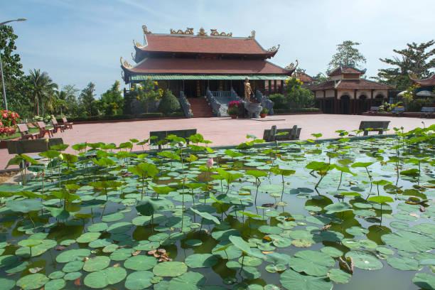 Pagode und Teich mit Seerose – Foto