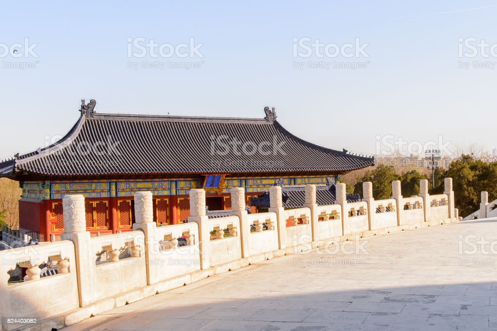 Pagoda at the Hall of Prayer for Good Harvests of the  Temple of Heaven, an Imperial Sacrificial Altar in Beijing. UNESCO World Heritage stock photo