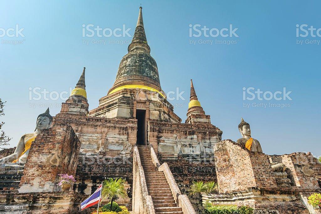 Pagoda at Wat Yai Chaimongkol, Ayuthaya,Thailand stock photo
