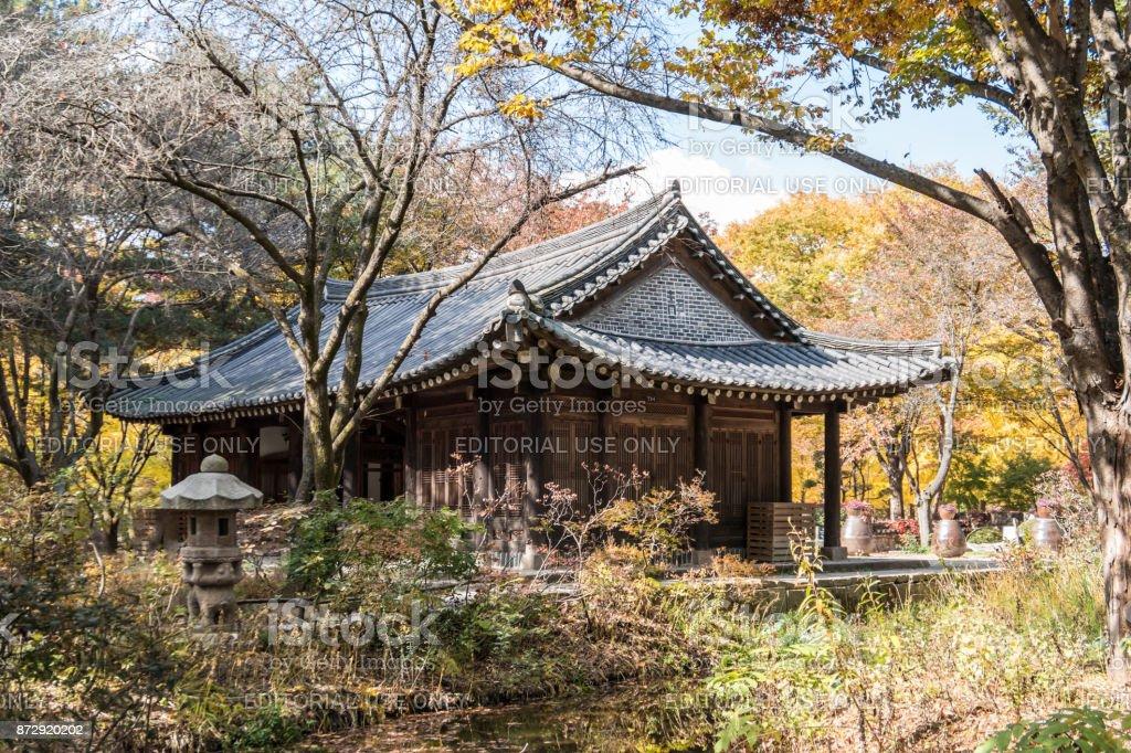 Pagoda building on Nami Island in South Korea. stock photo