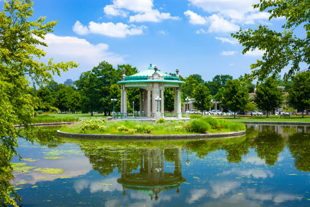 Pagoda Circle In Forest Park In St. Louis, Missouri, USA stock photo