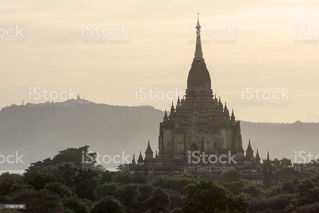 Pagoda in hazy evening light, Bagan, Myanmar royalty-free stock photo