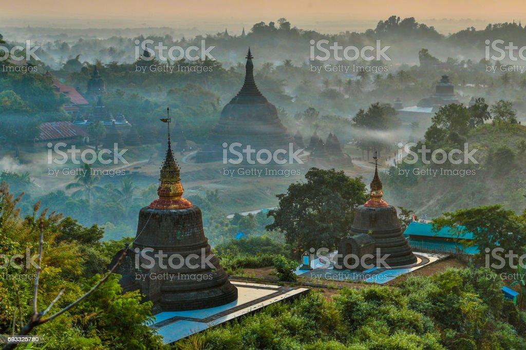 pagoda in the fog stock photo