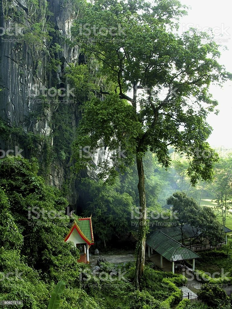 Pagoda in the forrest among Laotian mountains stock photo