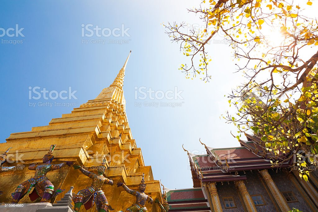 pagoda in wat phra kaew in bangkok  thailand stock photo