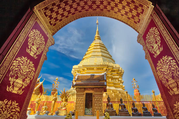 Pagoda in Wat Phra That Doi Suthep in Chiang Mai, Thailand Pagoda in Wat Phra That Doi Suthep in Chiang Mai, Thailand chiang mai province stock pictures, royalty-free photos & images