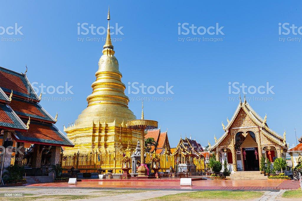 Pagoda in Wat Phra That Hariphunchai at Lamphun Thailand stock photo