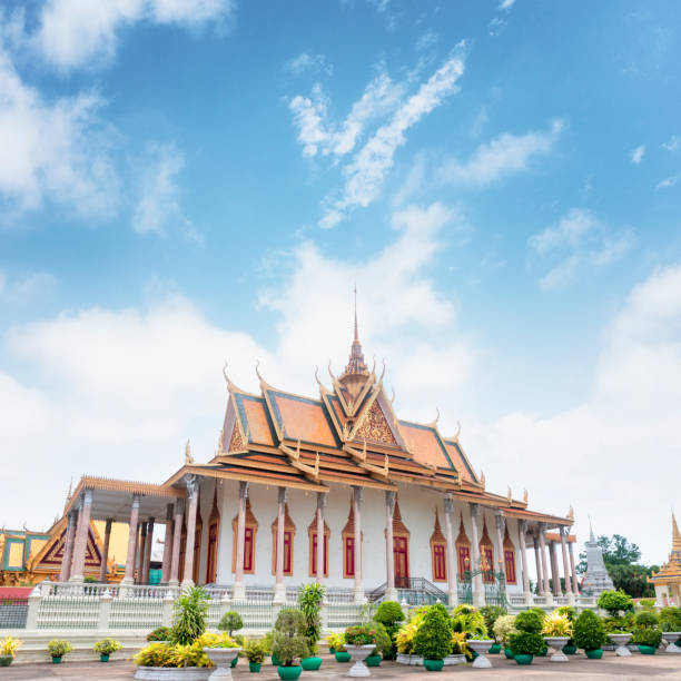 Pagoda Inside The Grounds Of The Royal Palace In Phnom Penh, Cambodia stock photo