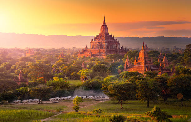 Pagoda landscape in the plain of Bagan, Myanmar. Pagoda landscape in the plain of Bagan, Myanmar (Burma) pagoda stock pictures, royalty-free photos & images