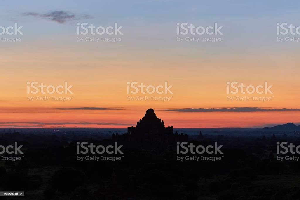 Pagoda landscape in the plain of Bagan, Myanmar (Burma) royalty-free stock photo
