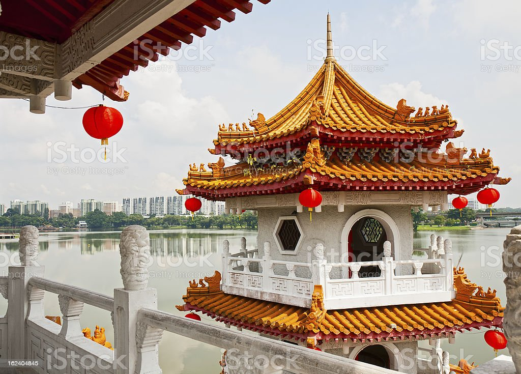 Pagoda on lake stock photo