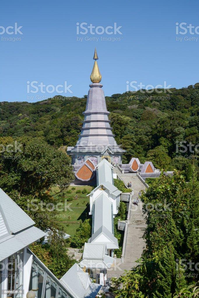 pagoda on the moutain (Noppa methanidon-nop pha phon phum siri stupa),Doi Inthanon National Park, Thailand. royalty-free stock photo