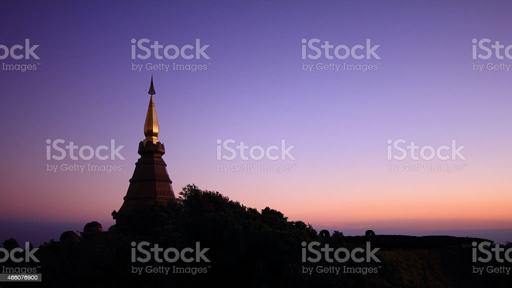 Pagoda on top of a mountain stock photo