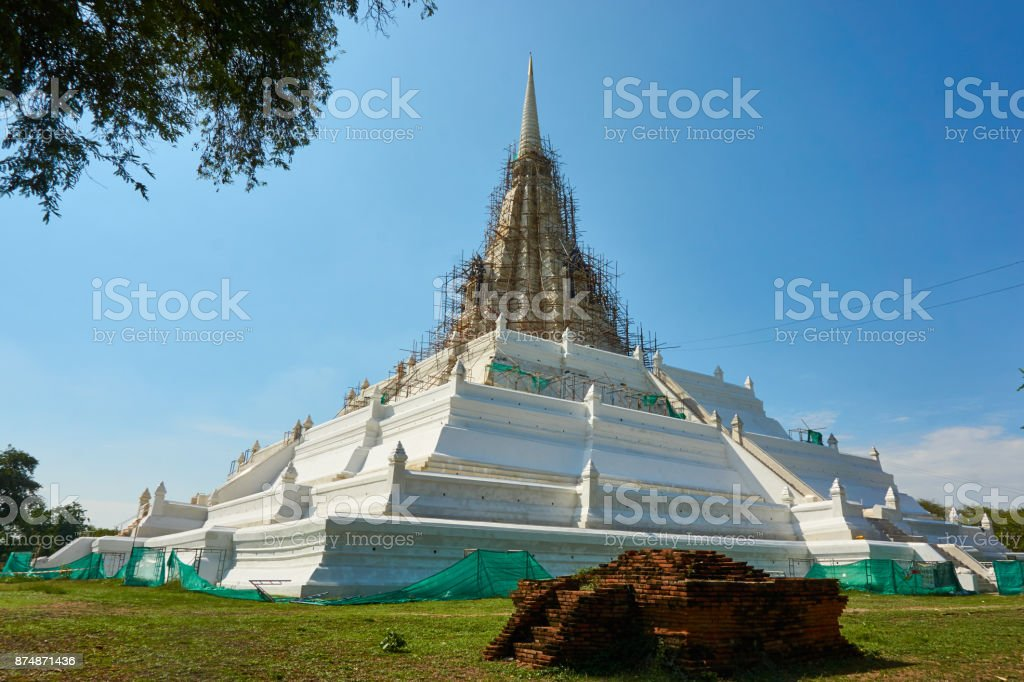 Pagoda reconstruction.  Process of restore an old temple. stock photo