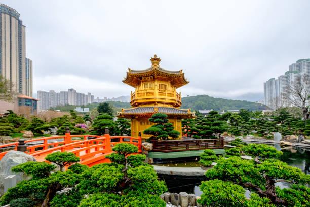 pagoda style chinese architecture perfection in nan lian garden, hong kong, china. - lian empty imagens e fotografias de stock