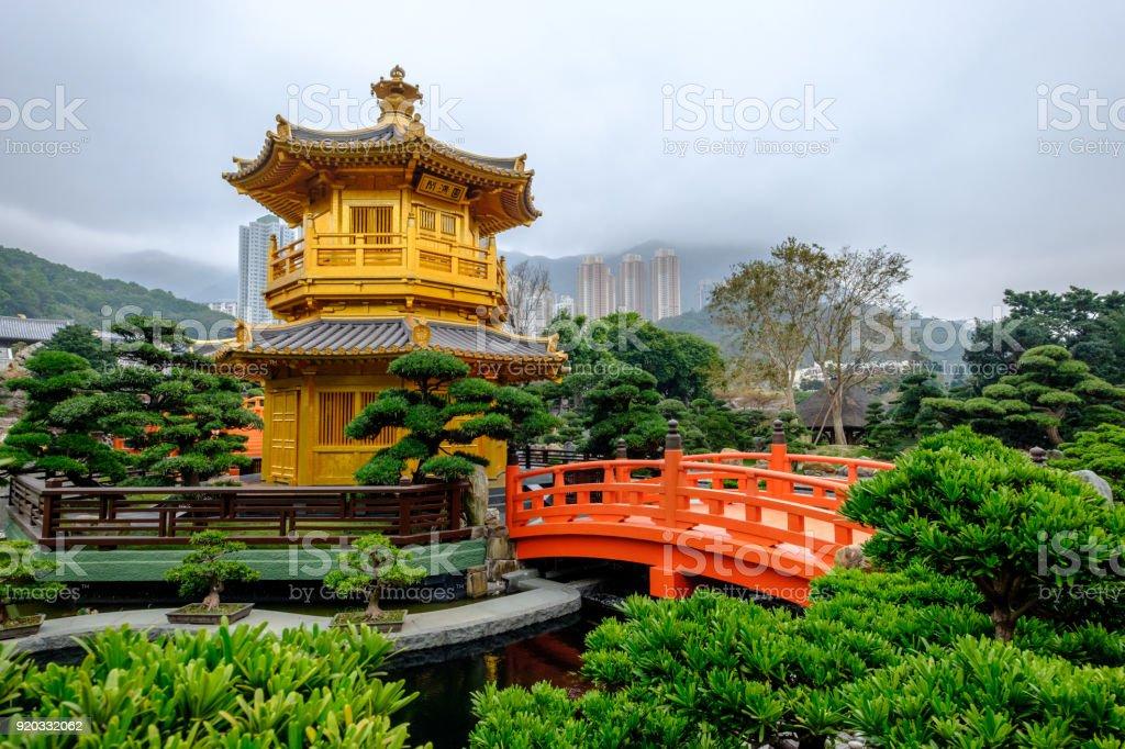 Pagoda style Chinese architecture Perfection in Nan Lian Garden, Hong Kong, China. stock photo