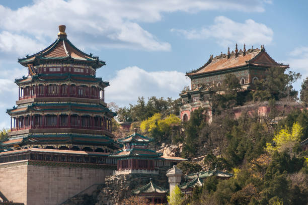Pagoda style summer palace in Beijing, China. stock photo
