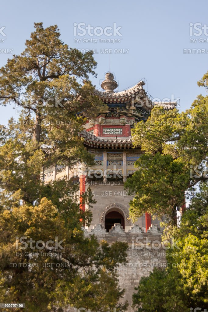 Pagoda style tower between trees at Summer Palace, Beijing. - Royalty-free Asia Stock Photo