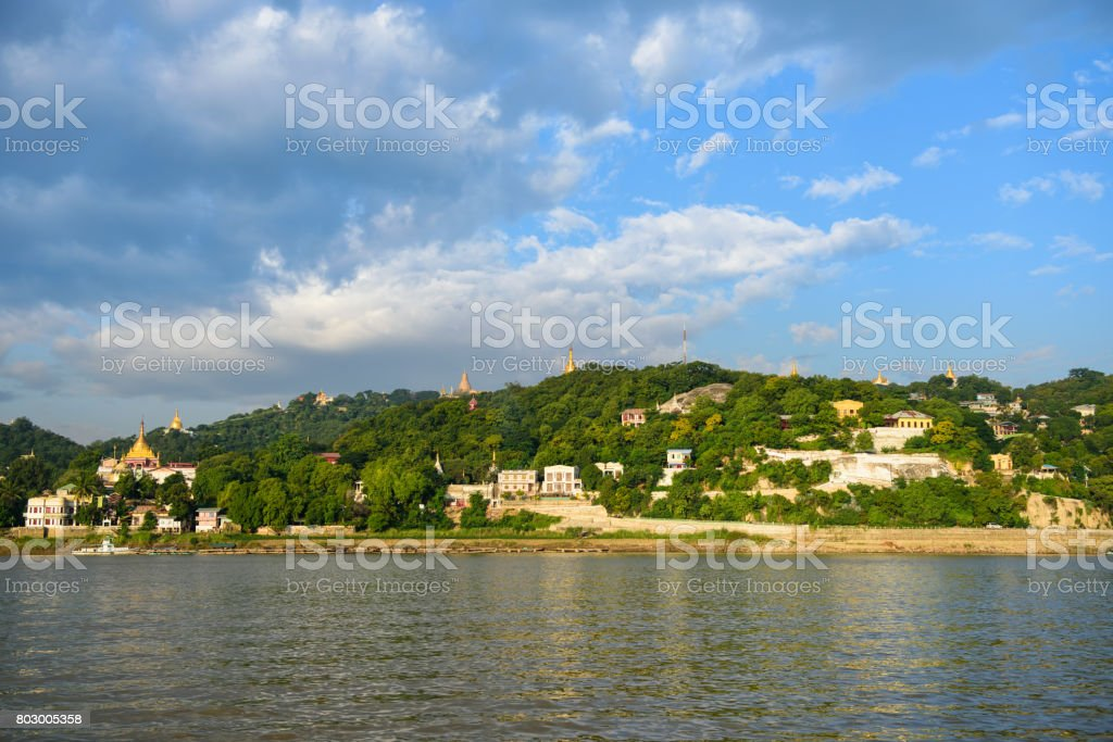 Pagoda, temples on Sagaing Hill stock photo