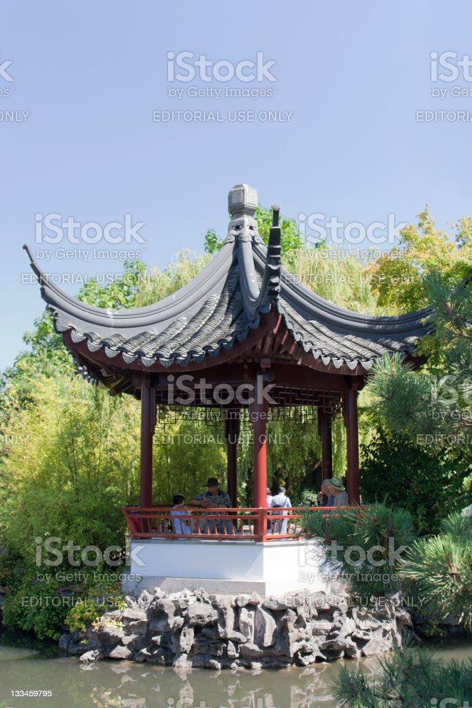Pagoda with chinese family royalty-free stock photo