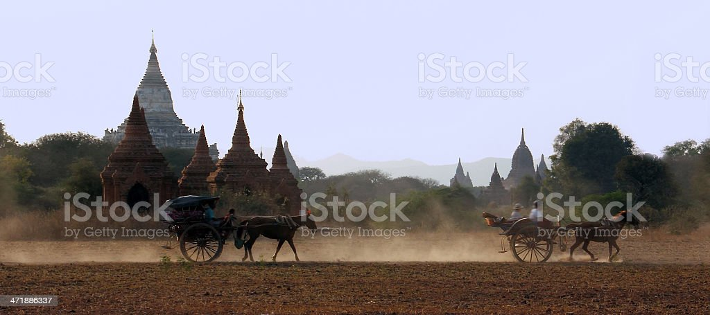 pagodas and horse drawn carriages royalty-free stock photo