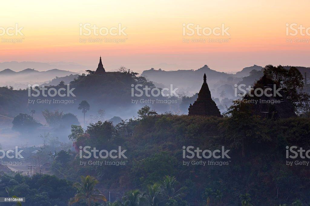 Pagodas at dawn light in Mrauk-U, Myanmar stock photo