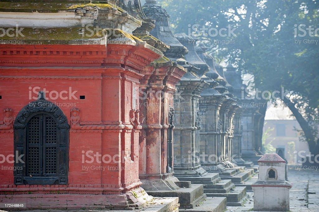 Pagodas in misty morning stock photo