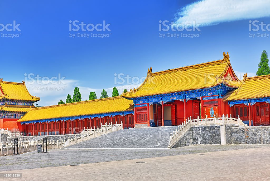 Pagodas inside the territory of the Forbidden City Museum. stock photo