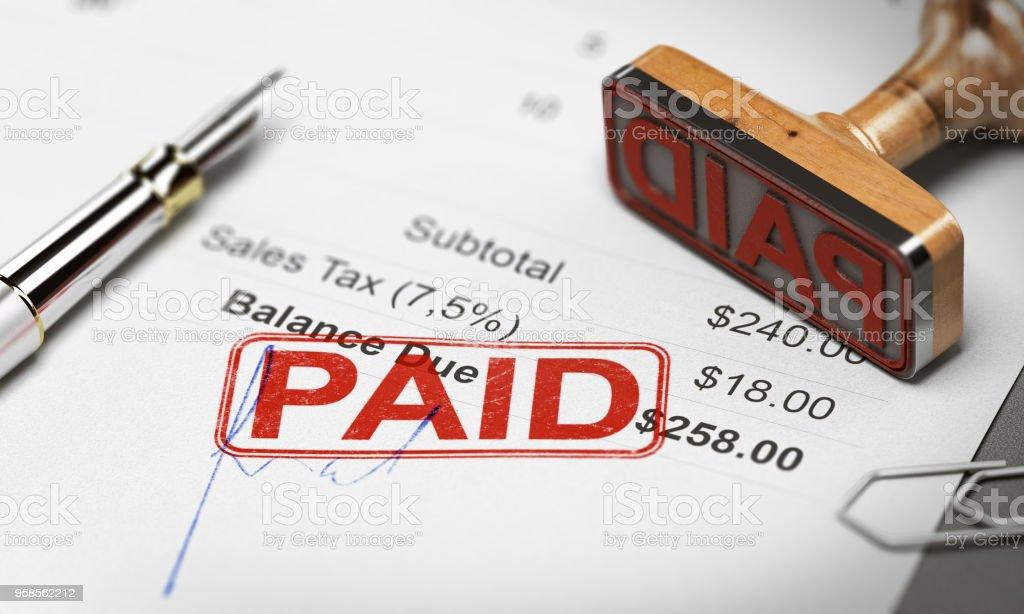 Bezahlt, Rechnung, Schulden oder Rechnung Sammlungskonzept – Foto