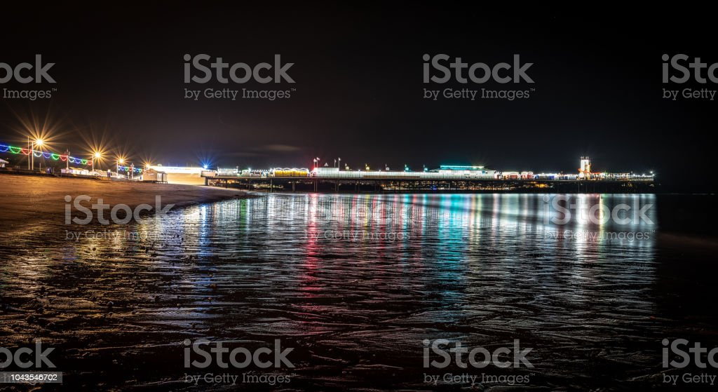 Paignton pier at night stock photo