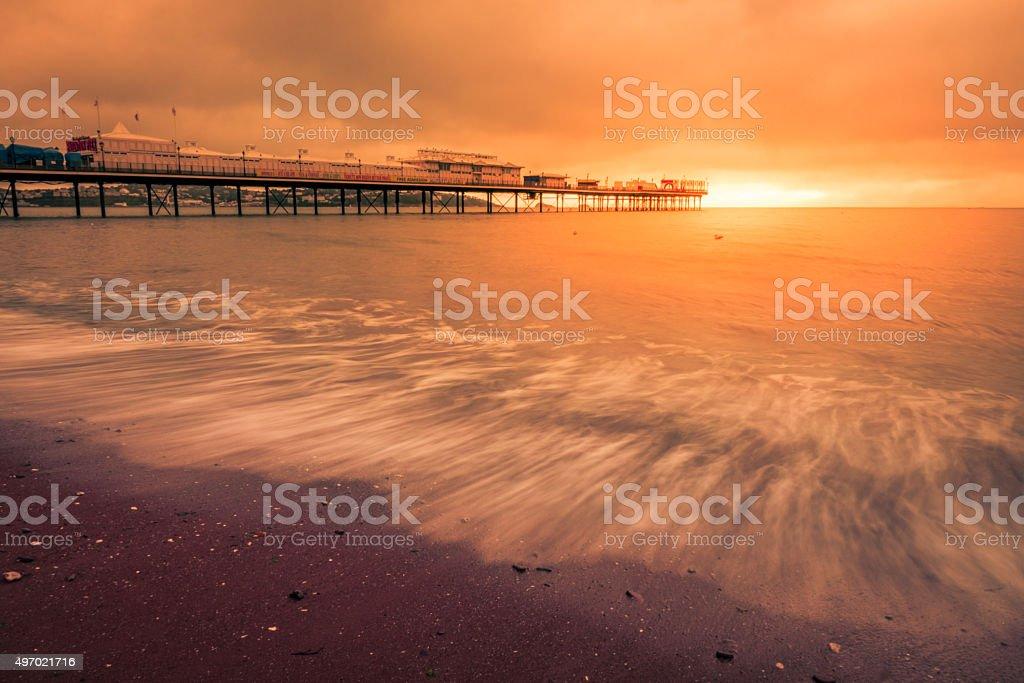 Paignton Pier at sunset stock photo