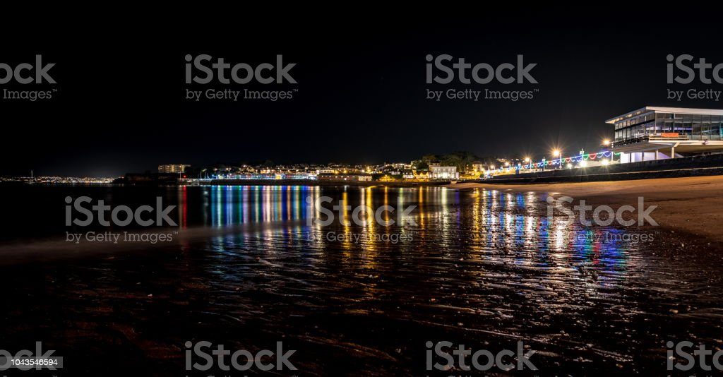 Paignton seafront at night stock photo