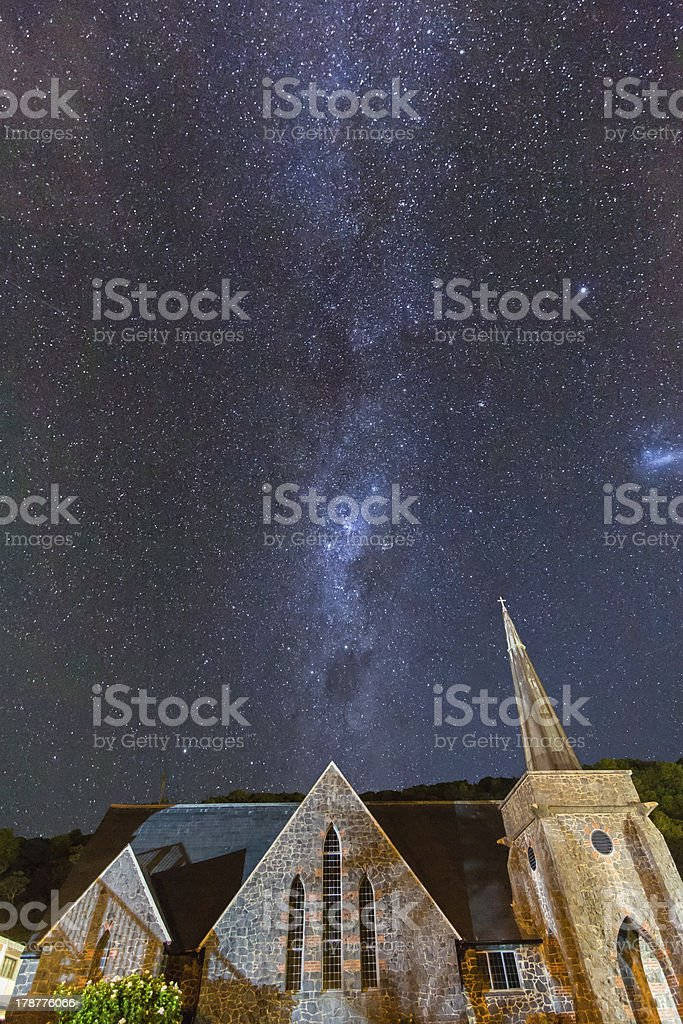 Paihia Church under the Milky Way royalty-free stock photo