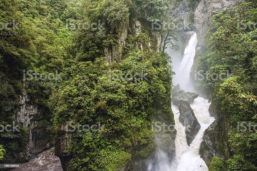 Pailon del Diablo - Mountain river and waterfall, Ecuador stock photo