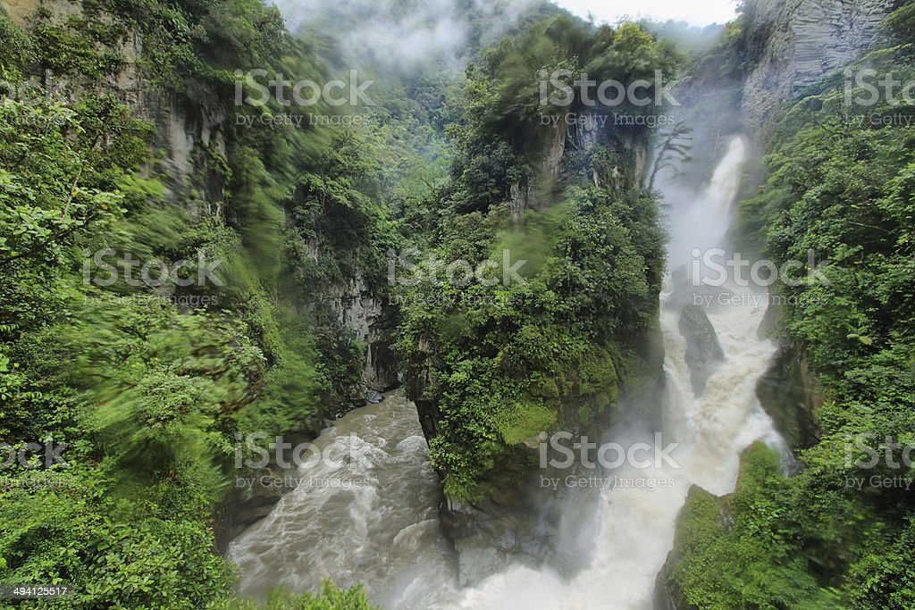 Pailon Del Diablo waterfall, Ecuador stock photo