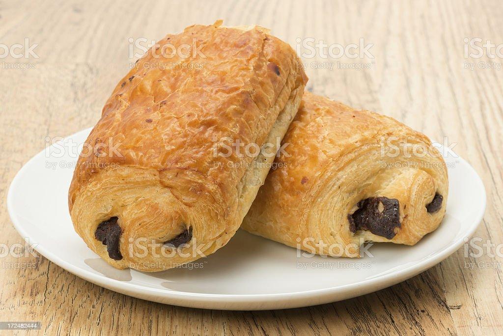 Pain au chocolat pastries stock photo