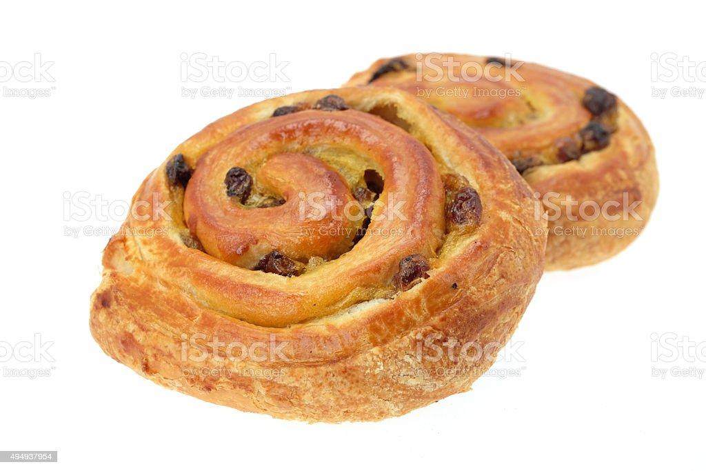 Pain au raisin pastries stock photo