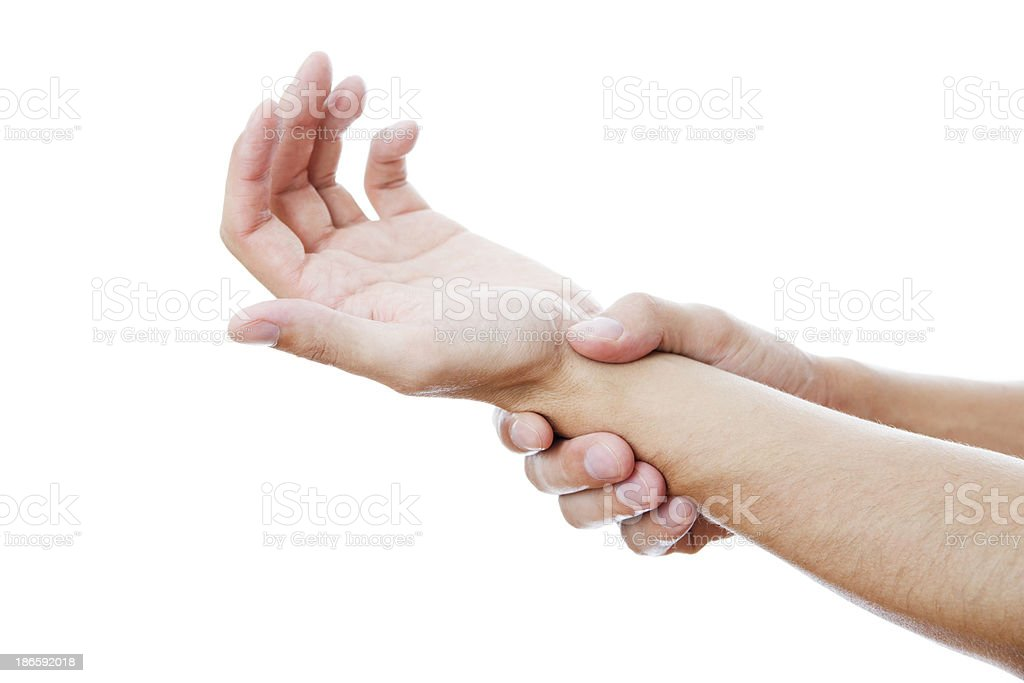 Pain in a male hand royalty-free stock photo