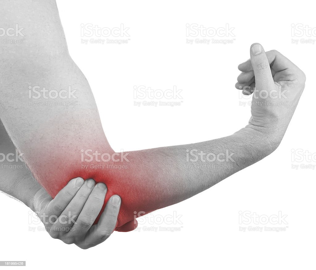 Pain in a man elbow royalty-free stock photo