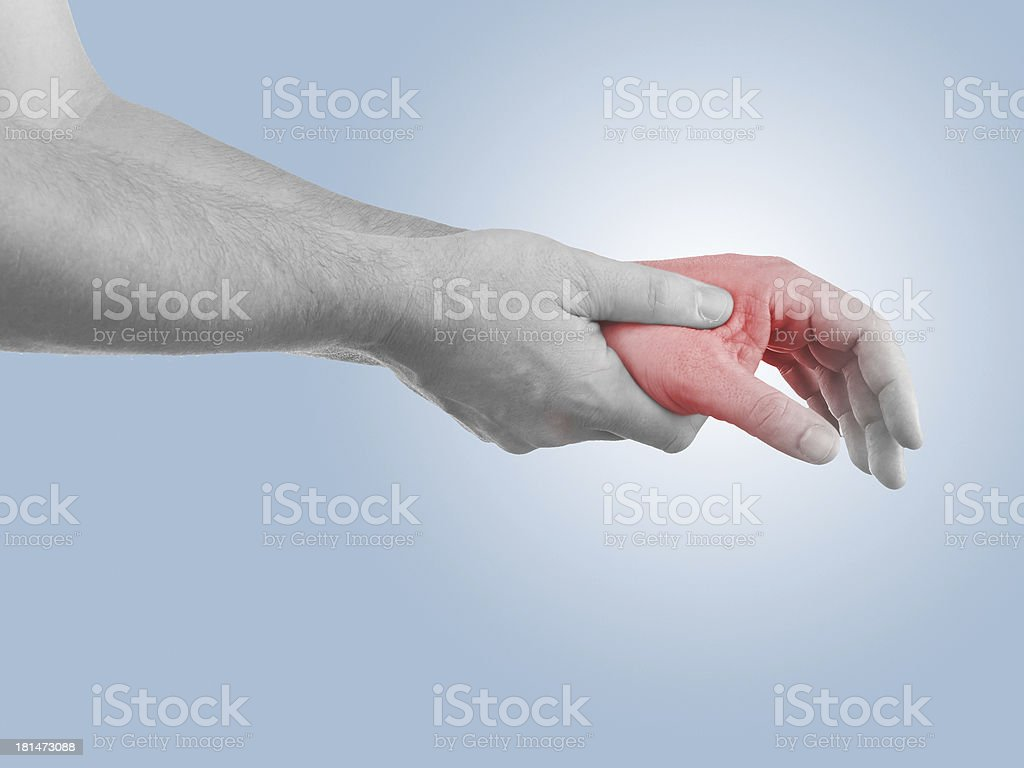 Pain in a man opisthenar palm area royalty-free stock photo