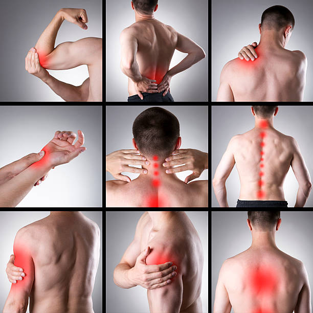 pain in a man's body - pain stock photos and pictures