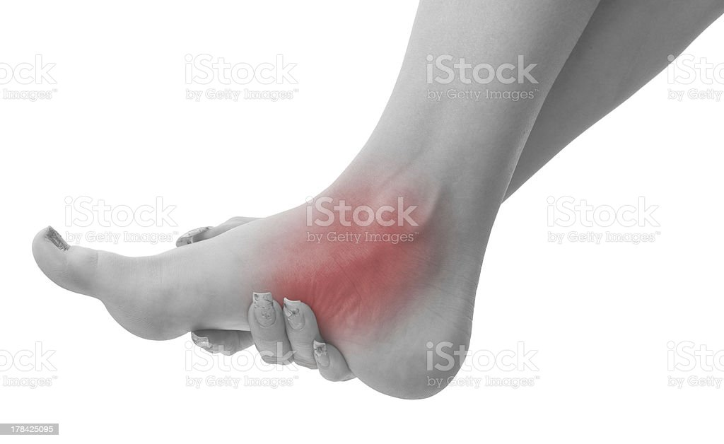 Pain in a woman ankle royalty-free stock photo