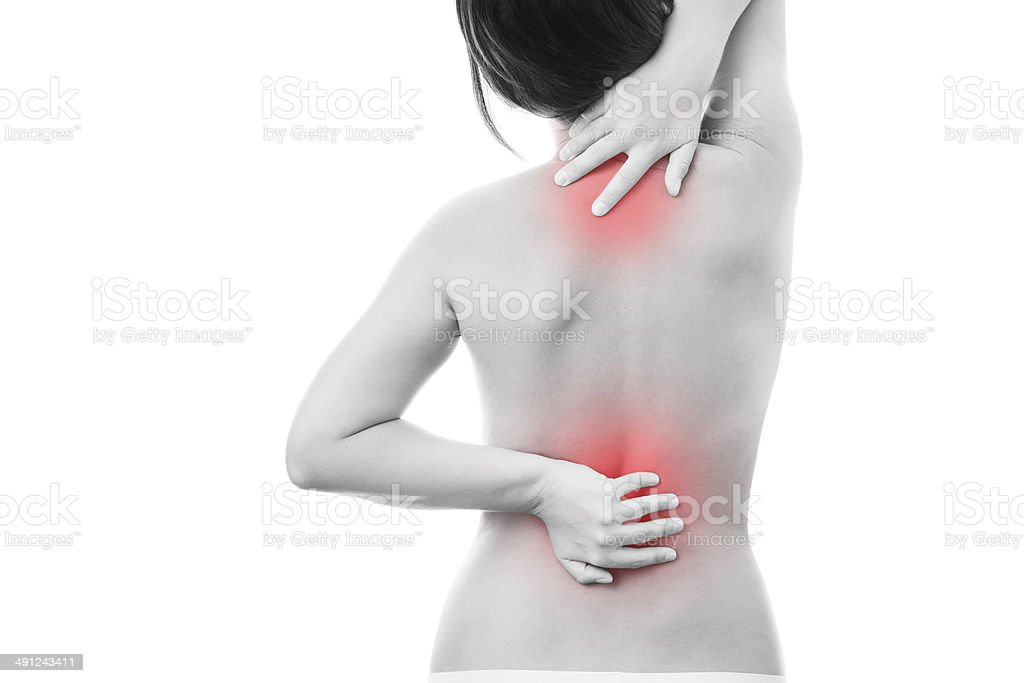 Pain in back of women royalty-free stock photo