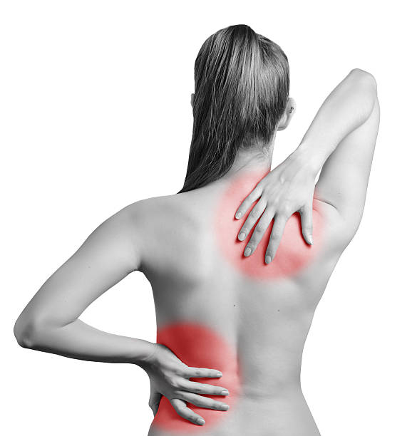 Pain in back. stock photo