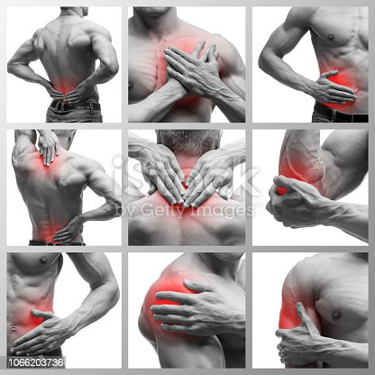 Pain in different man's body parts, chronic diseases of the male body, collage of several photos isolated on white background, painful area highlighted in red