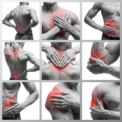 istock Pain in different man's body parts, chronic diseases of the male body, collage of several photos isolated on white background 1066203736