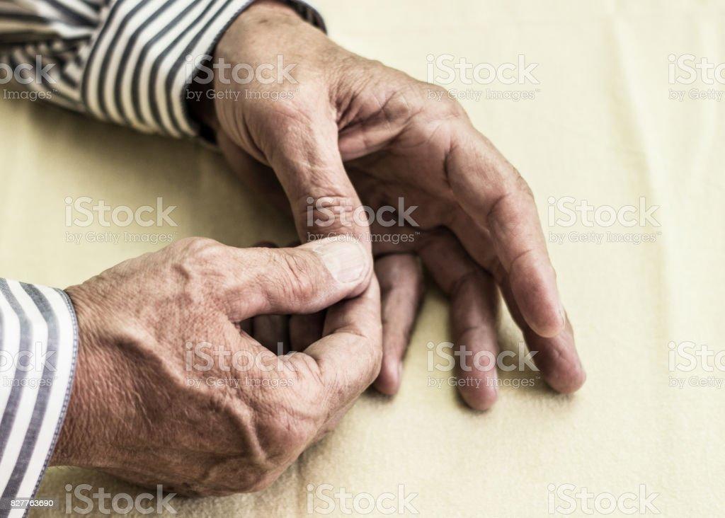 Pain in finger stock photo