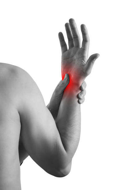 Pain in hand, carpal tunnel syndrome isolated on white background stock photo